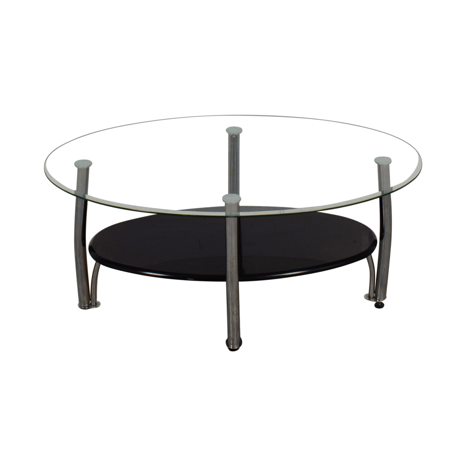 Ashely Furniture Ashely Furniture Oval Glass and Black Coffee Table on sale