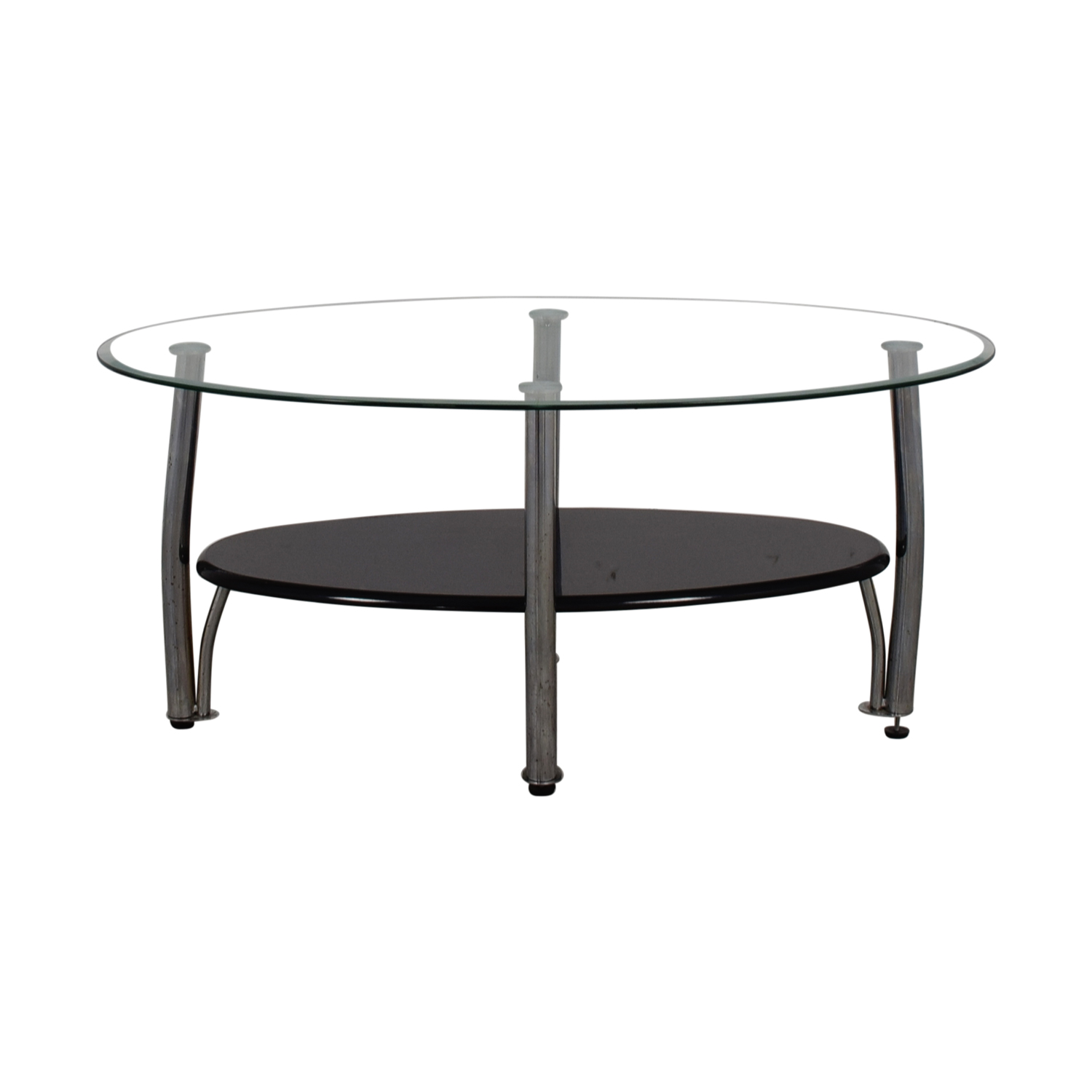 Ashely Furniture Ashely Furniture Oval Glass and Black Coffee Table Tables