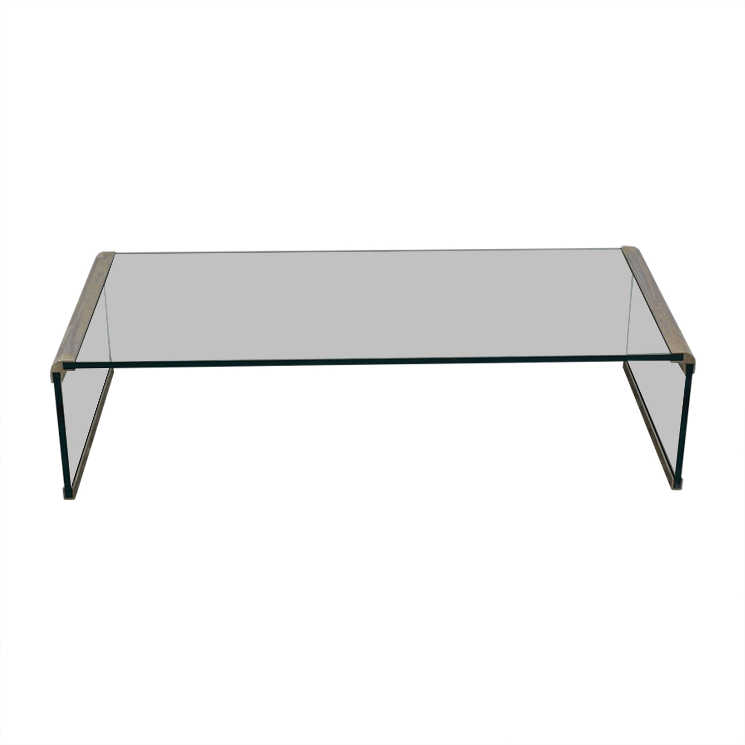 Pace Collection-Style Modern Metal and Glass Coffee Table used