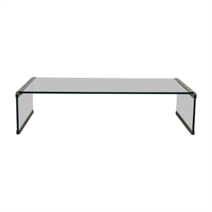 Pace Collection-Style Modern Metal and Glass Coffee Table second hand