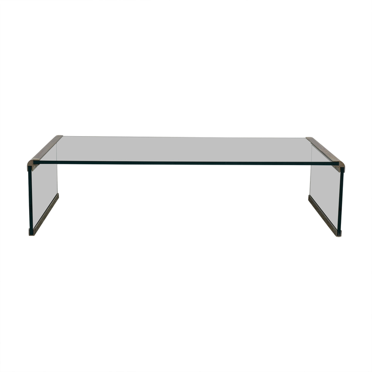 Pace Collection-Style Modern Metal and Glass Coffee Table dimensions