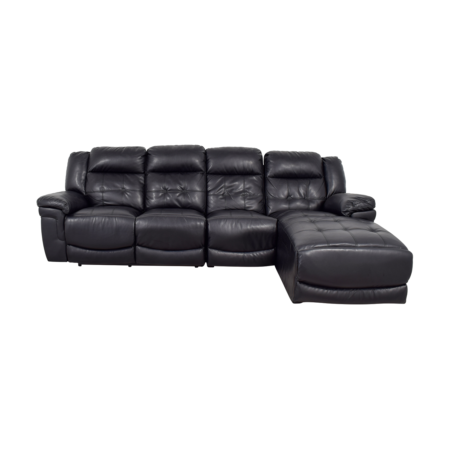 59% OFF - Black Leather Sectional with Recliner / Sofas