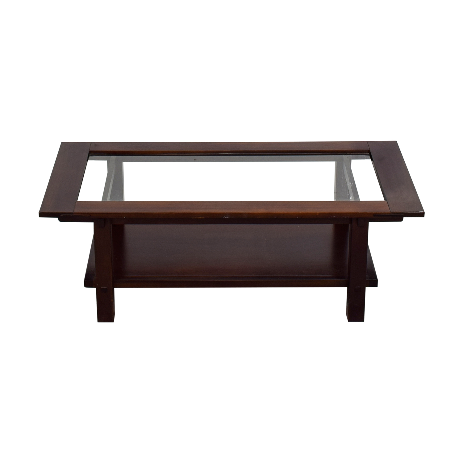 Glass and Wood Rectangular Coffee Table dimensions
