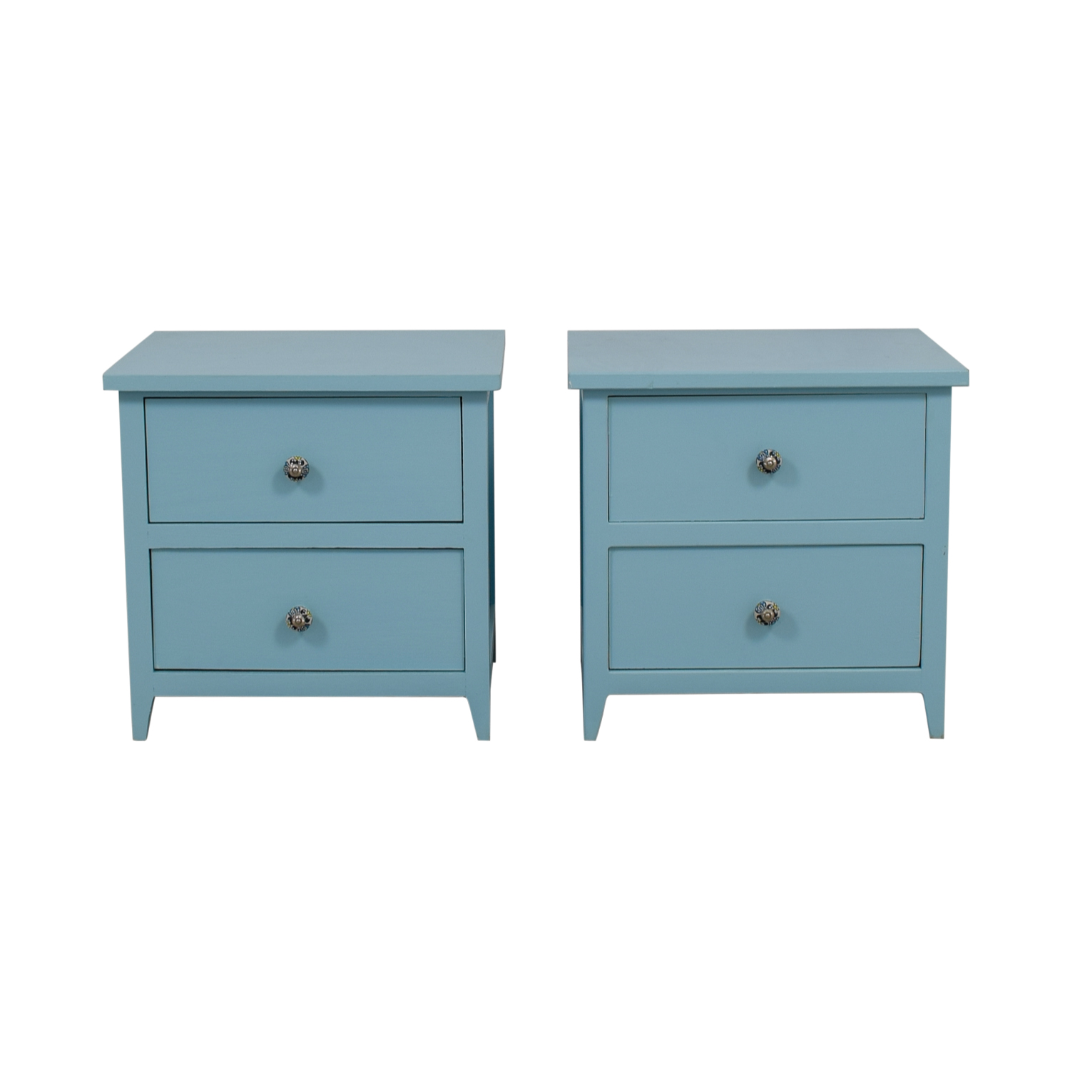 Gothic Cabinet Craft Gothic Cabinet Craft Light Blue Wood Two-Drawer Night Stands used