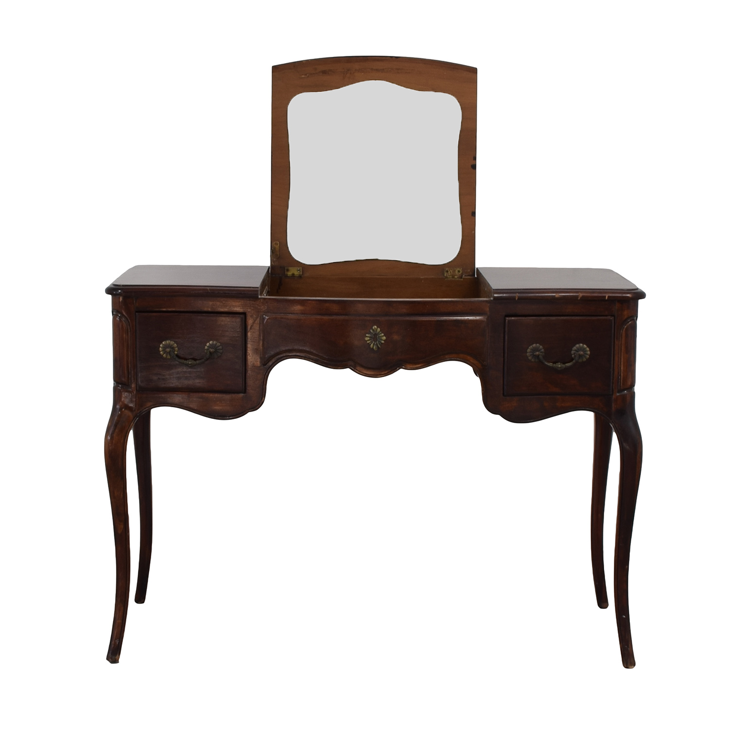 Drexel Drexel Three-Drawer Vanity Table with Pull Up Mirror for sale