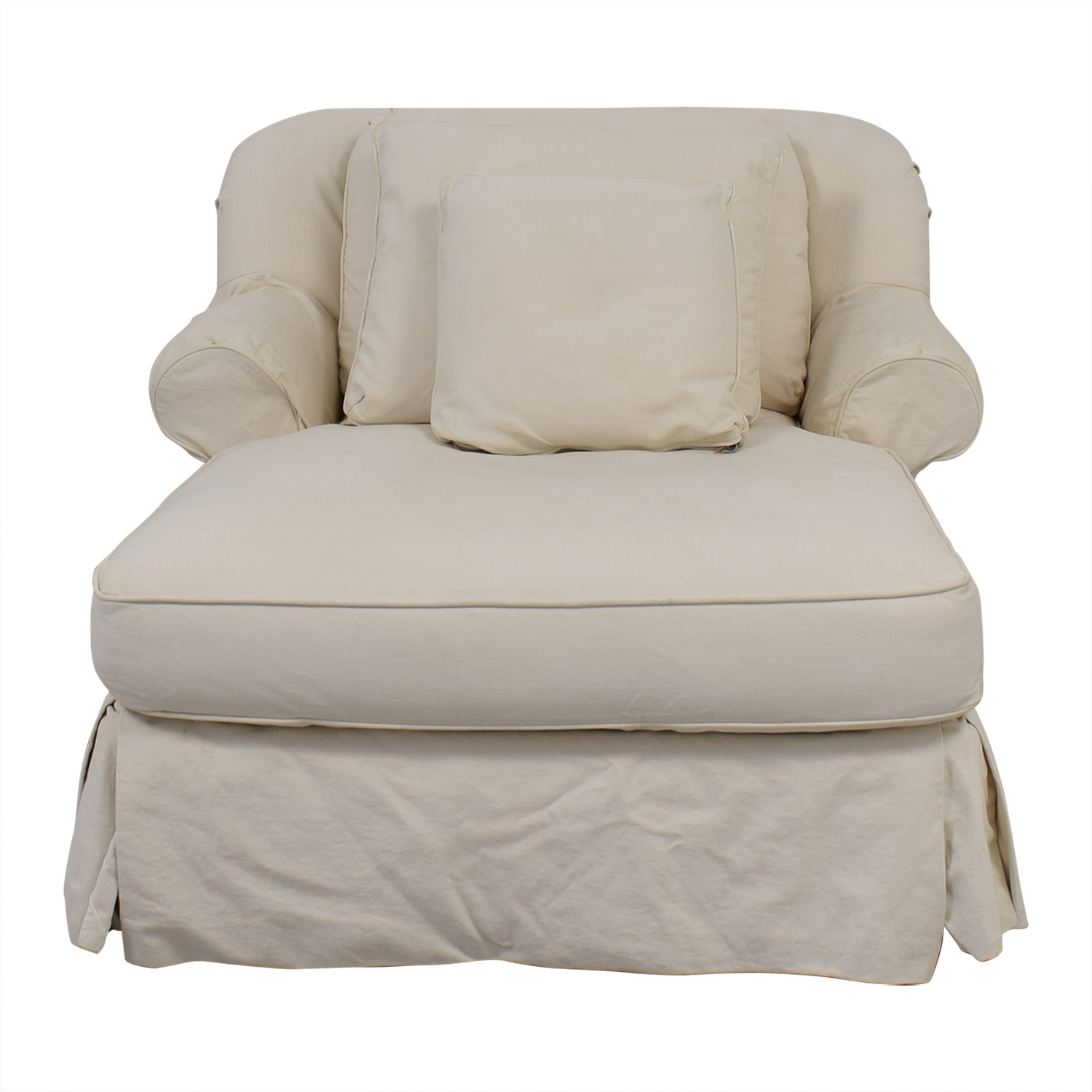White Skirted Chaise Sofas
