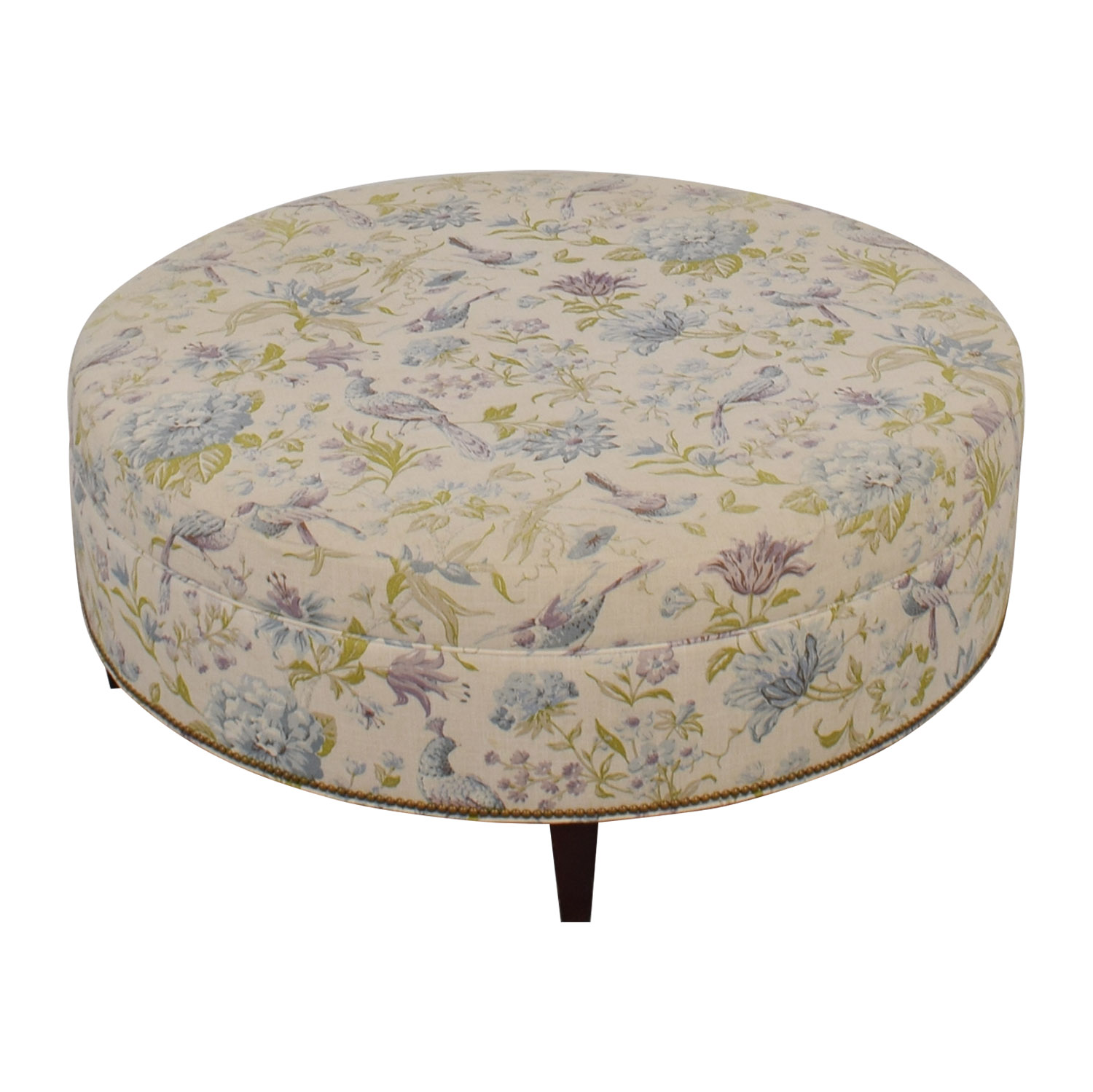 Custom Floral and Bird Upholstered Ottoman Sofas