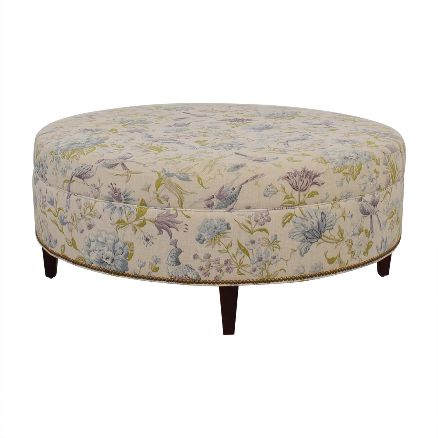 Custom Floral and Bird Upholstered Ottoman price