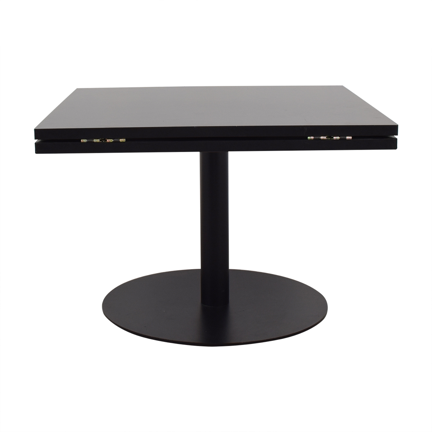 Black Square to Round Foldable Sides Table