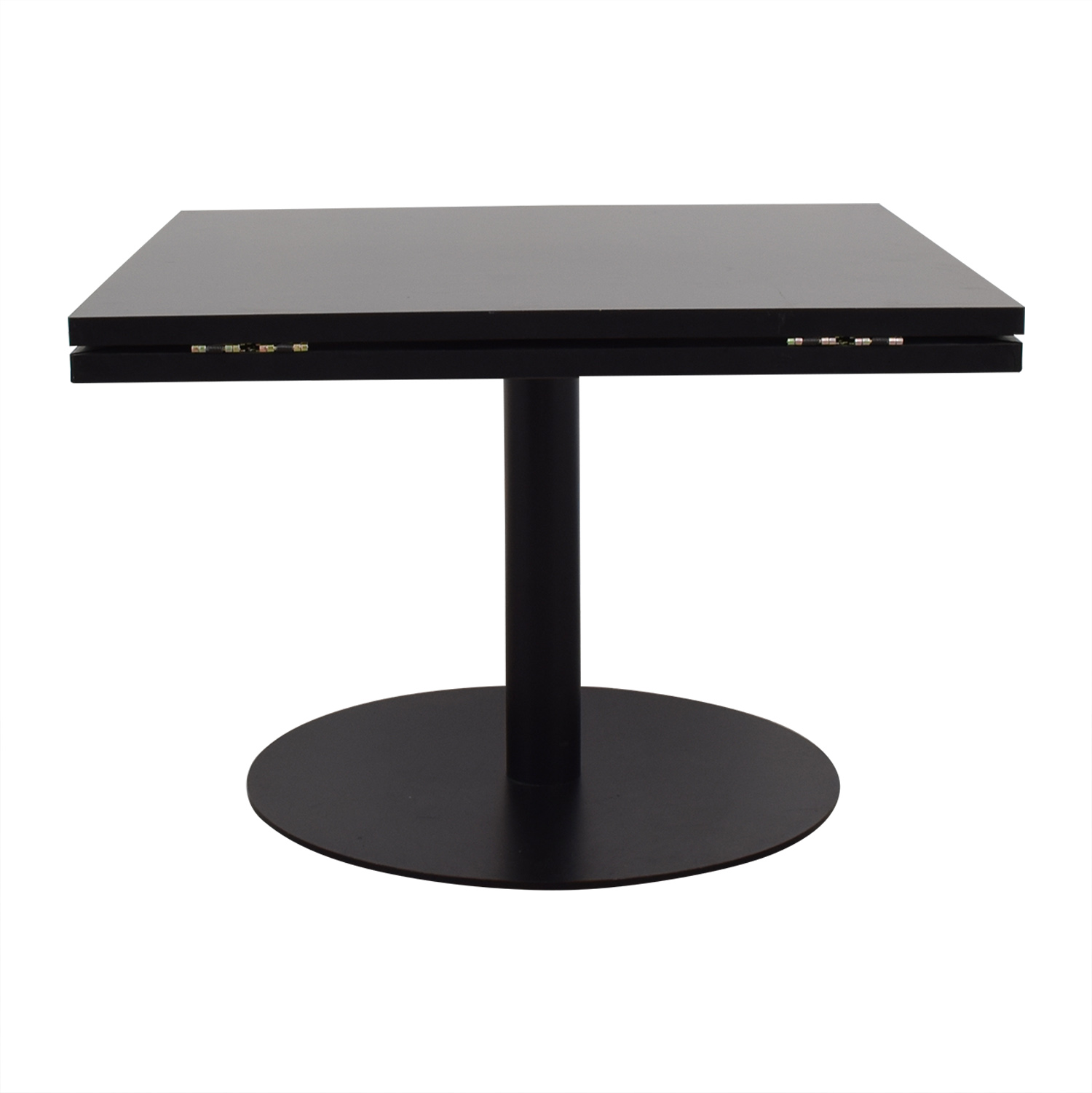 Black Square to Round Foldable Sides Table second hand