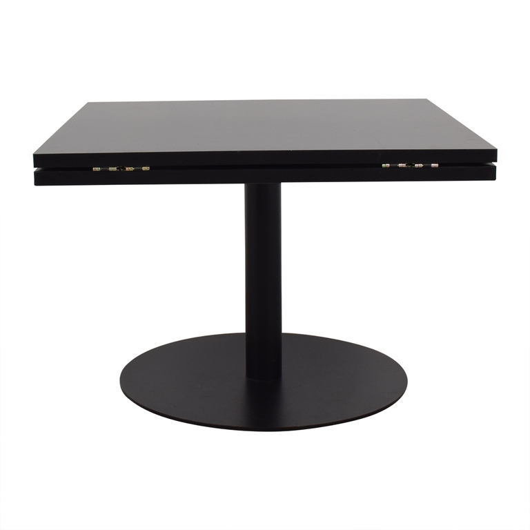 Black Square to Round Foldable Sides Table discount