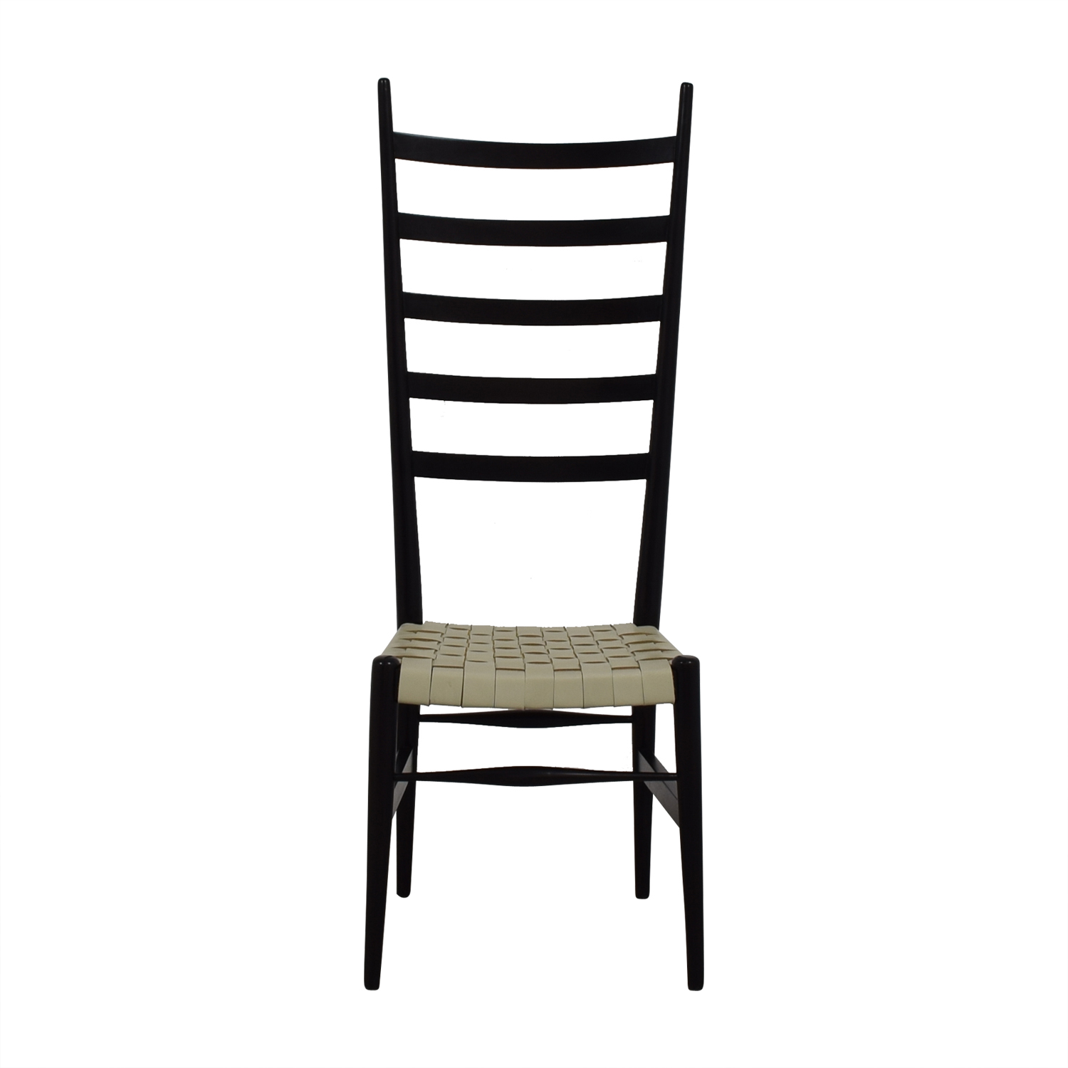 White Leather and Brown Ladder Back Chair for sale