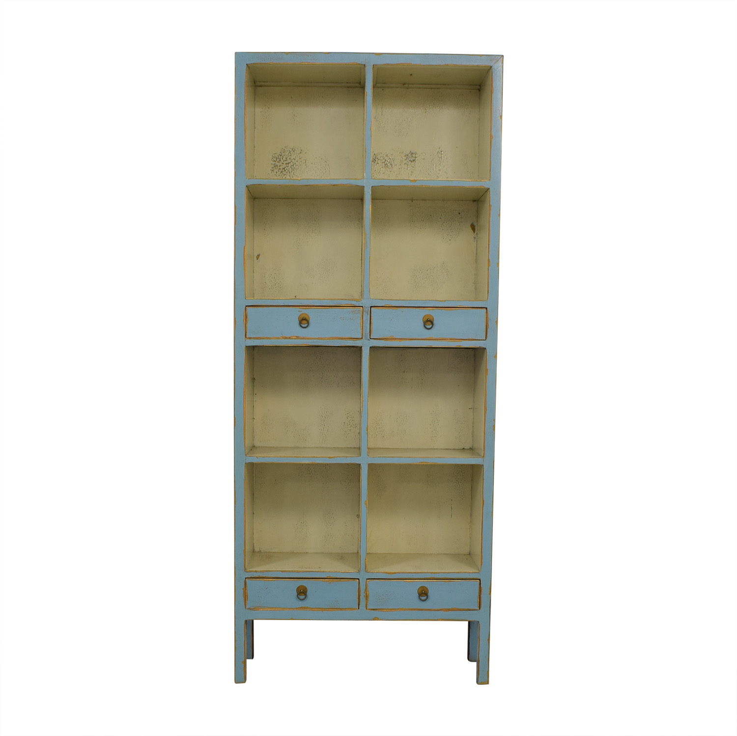 One Kings Lane One Kings Lane Safavieh Light Blue Distressed Bookcase nyc