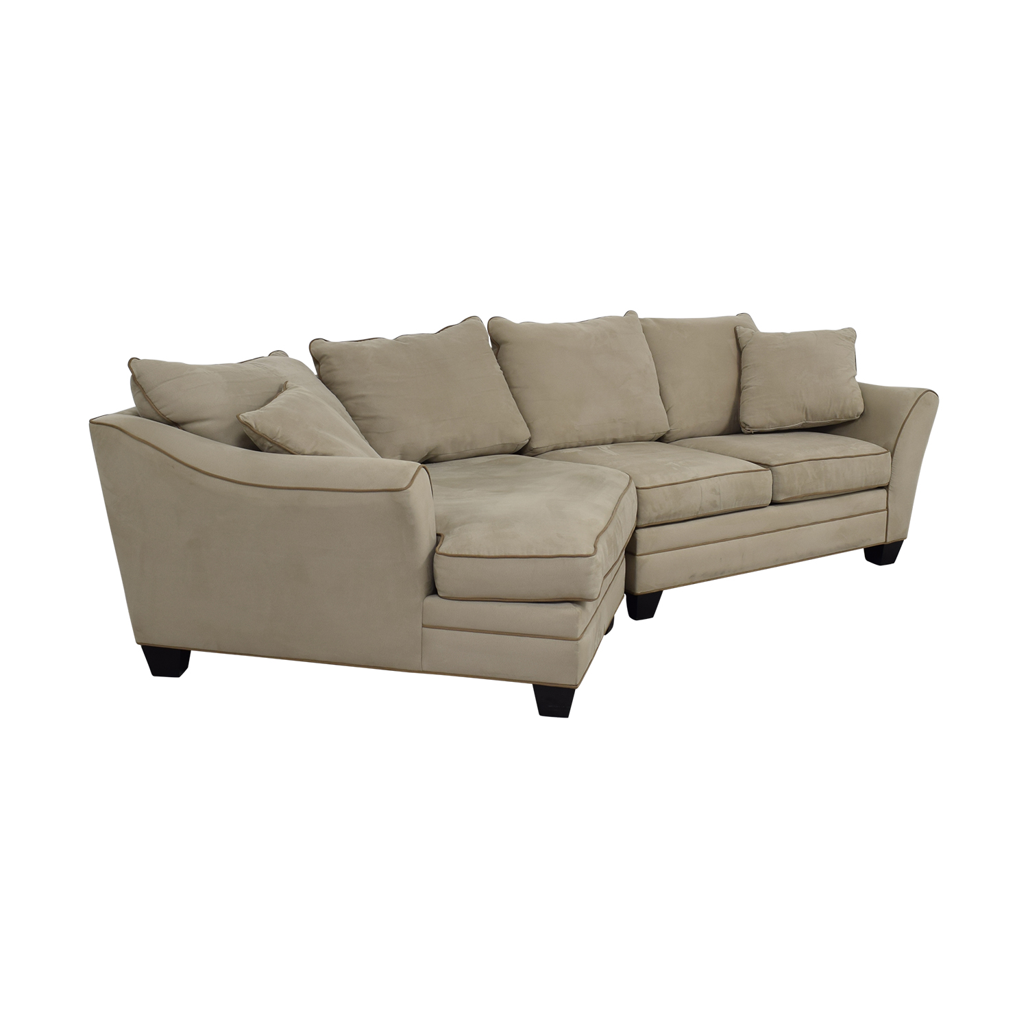 88 Off Raymour Amp Flanigan Raymour Amp Flanigan Foresthill Microfiber Beige Sectional With Angled Chaise Sofas