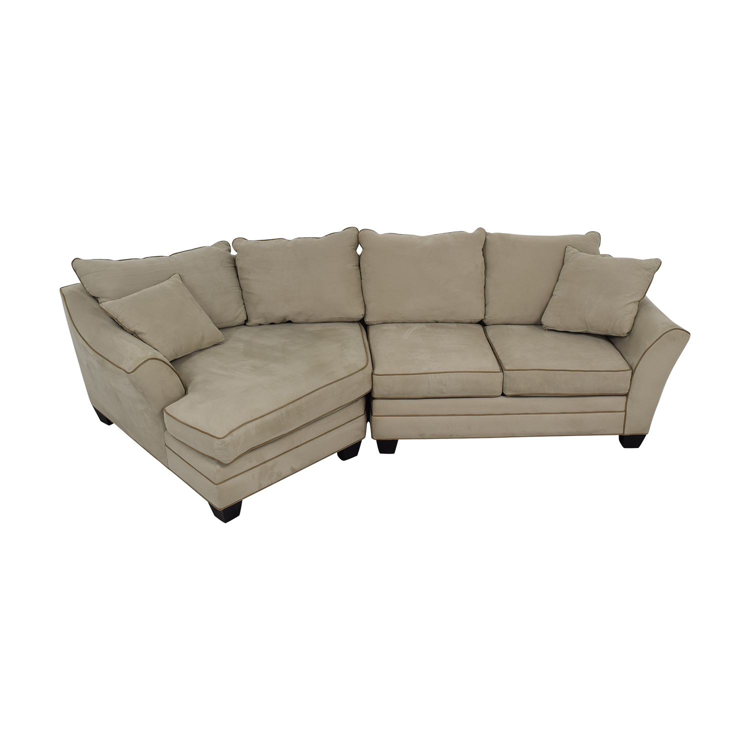 Raymour & Flanigan Raymour & Flanigan Foresthill Microfiber Beige Sectional with Angled Chaise