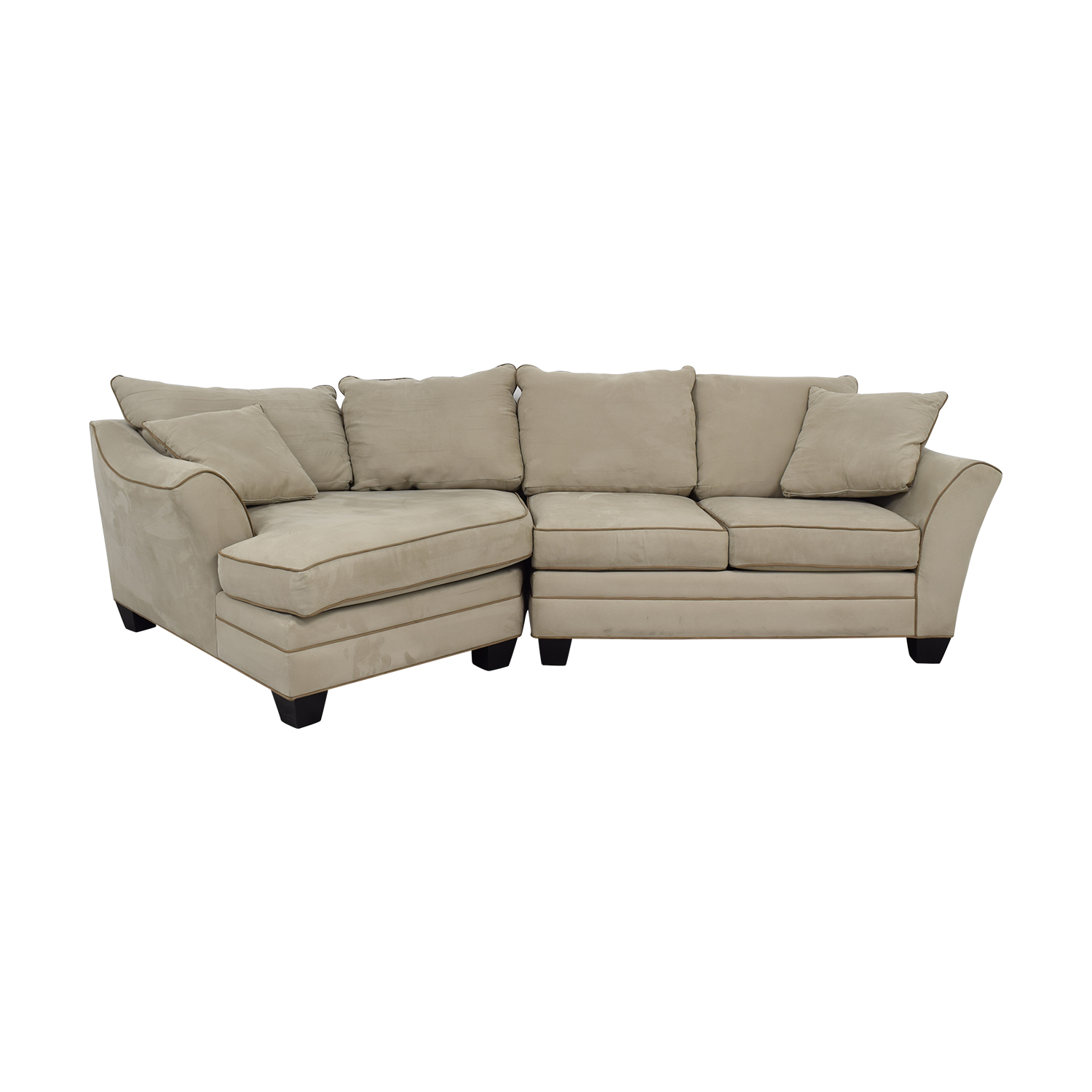 buy Raymour & Flanigan Foresthill Microfiber Beige Sectional with Angled Chaise Raymour & Flanigan
