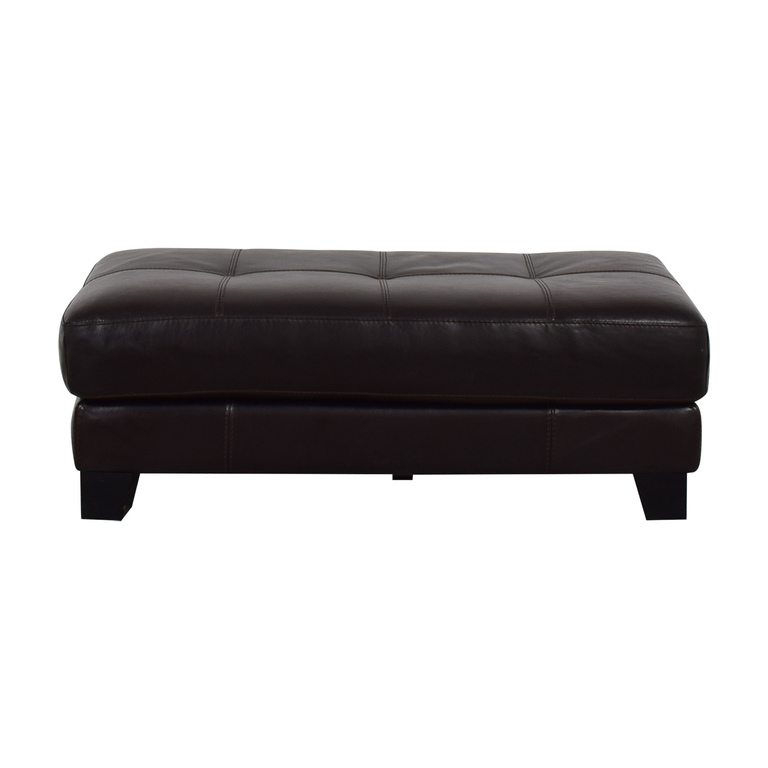 Chateau D'Ax Chateau D'Ax Brown Leather Cocktail Ottoman Storage