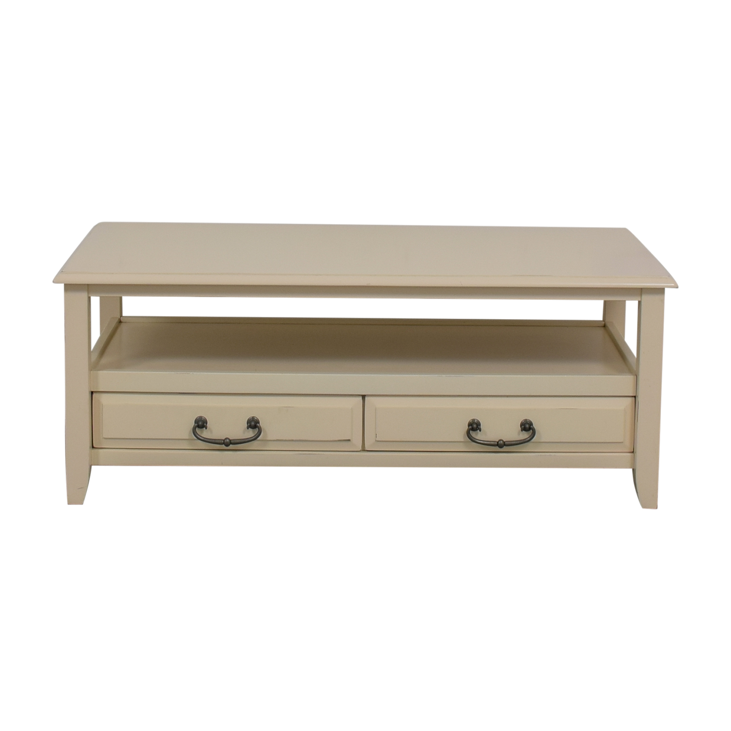 Pier 1 Imports White Two-Drawer Coffee Table / Coffee Tables