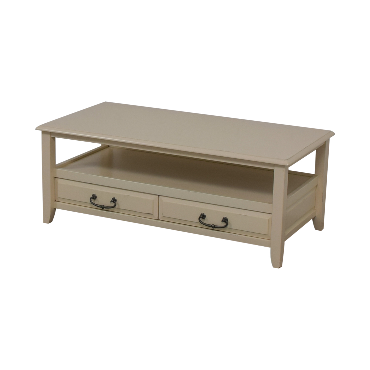 70% OFF - Pier 1 Pier 1 Imports White Two-Drawer Coffee Table / Tables