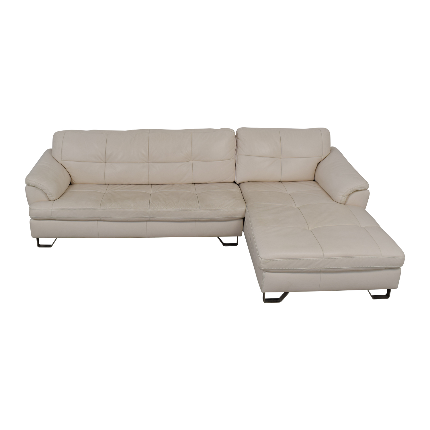 Ashley Furniture White Leather Chaise Sectional / Sofas