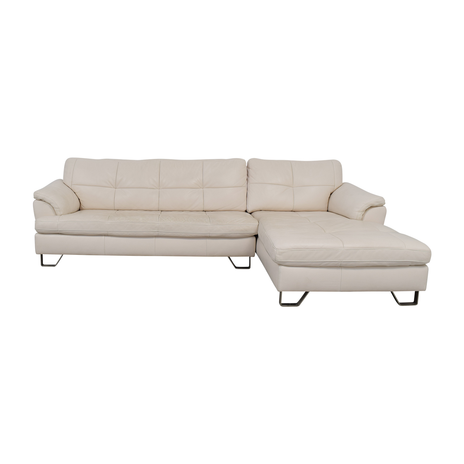 88% OFF - Ashley Furniture Ashley Furniture White Leather Chaise Sectional  / Sofas