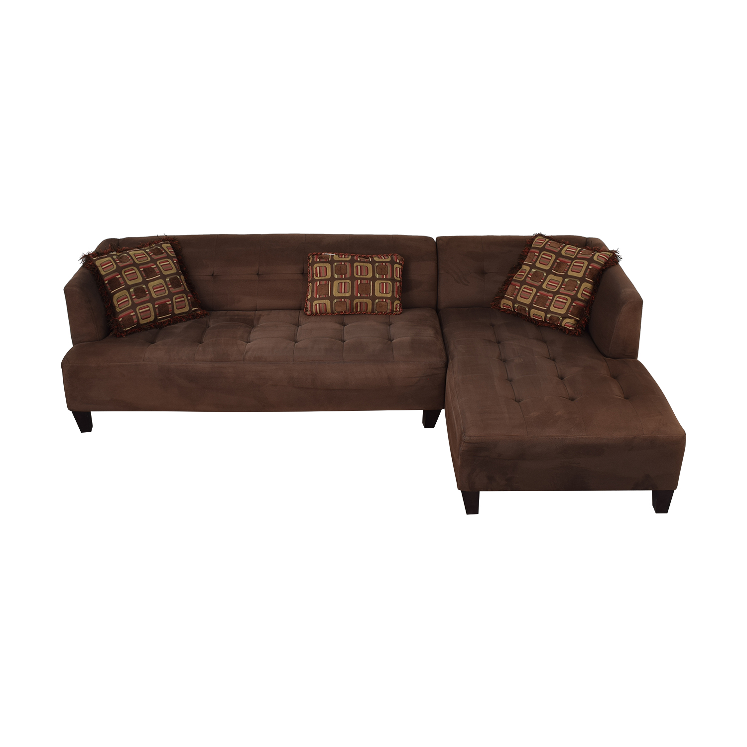 Macy's Macy's Brown Tufted Chaise  Sectional