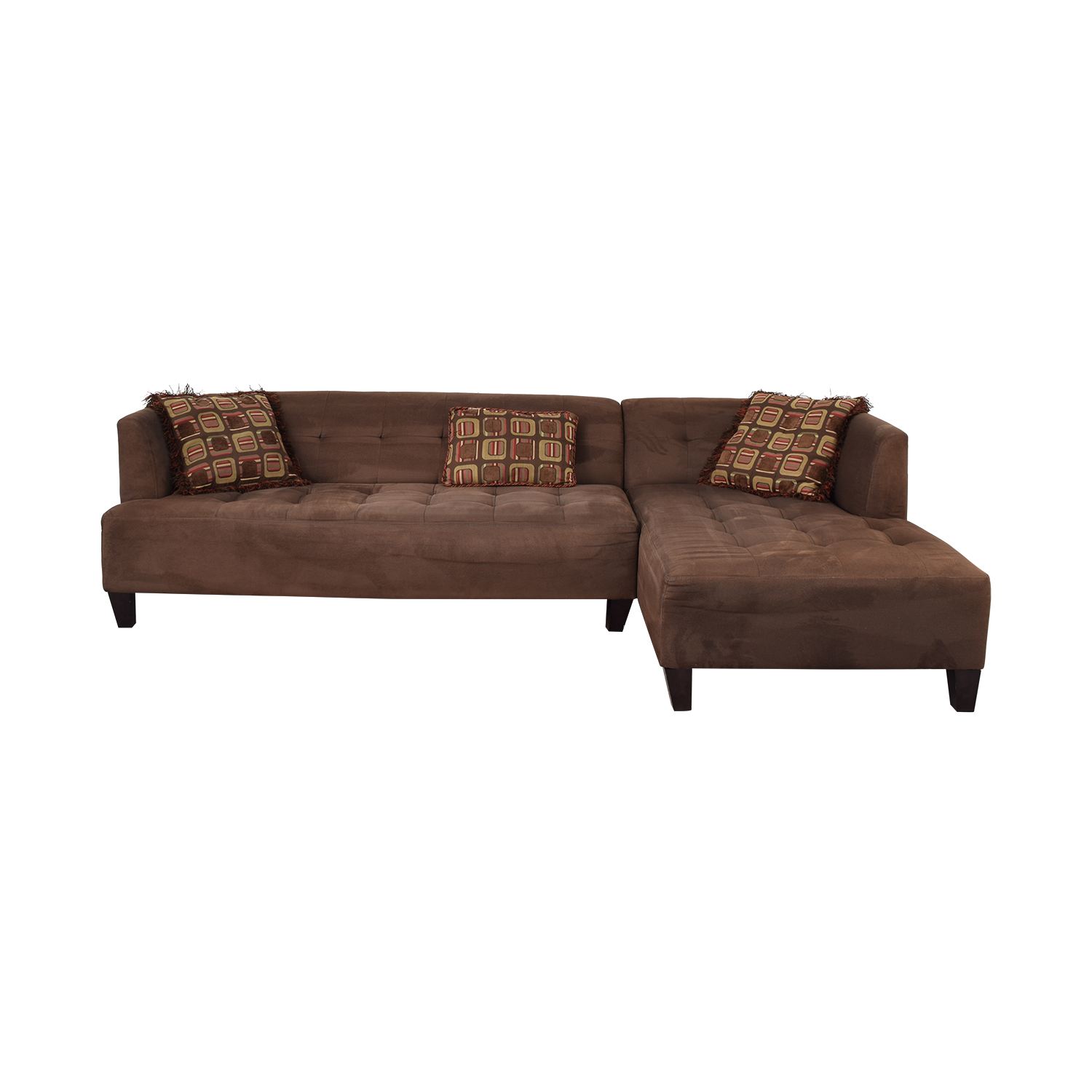 Macy's Macy's Brown Tufted Chaise  Sectional on sale