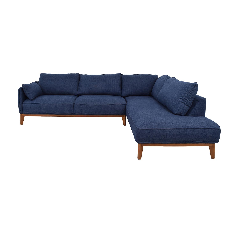 Macy's Jollene Blue Chaise Sectional sale
