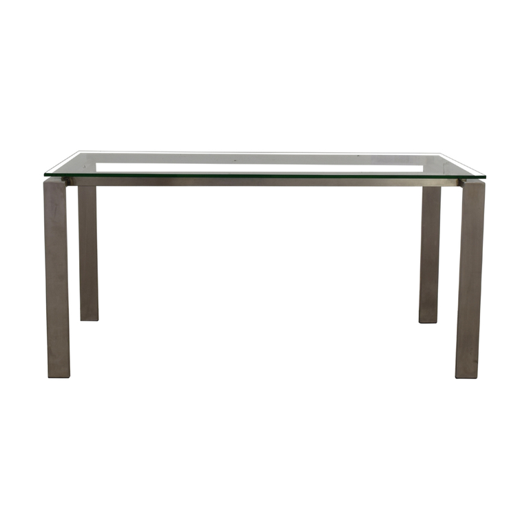 Room & Board Room & Board Rand Stainless Steel and Glass Dining Table second hand