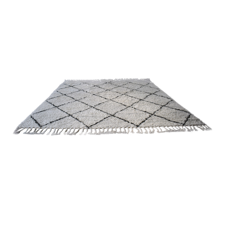nuLOOM Moroccan Trellis Natural Shag Wool Rug / Decor