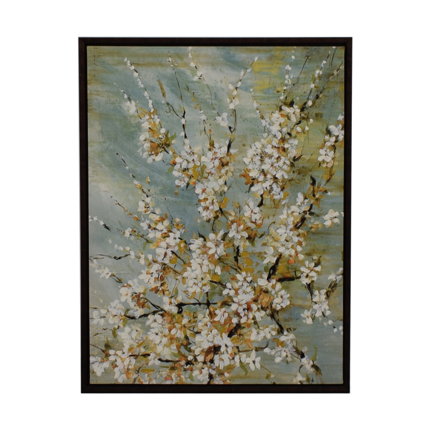 White Flowers on Light Blue Background Wall Art discount