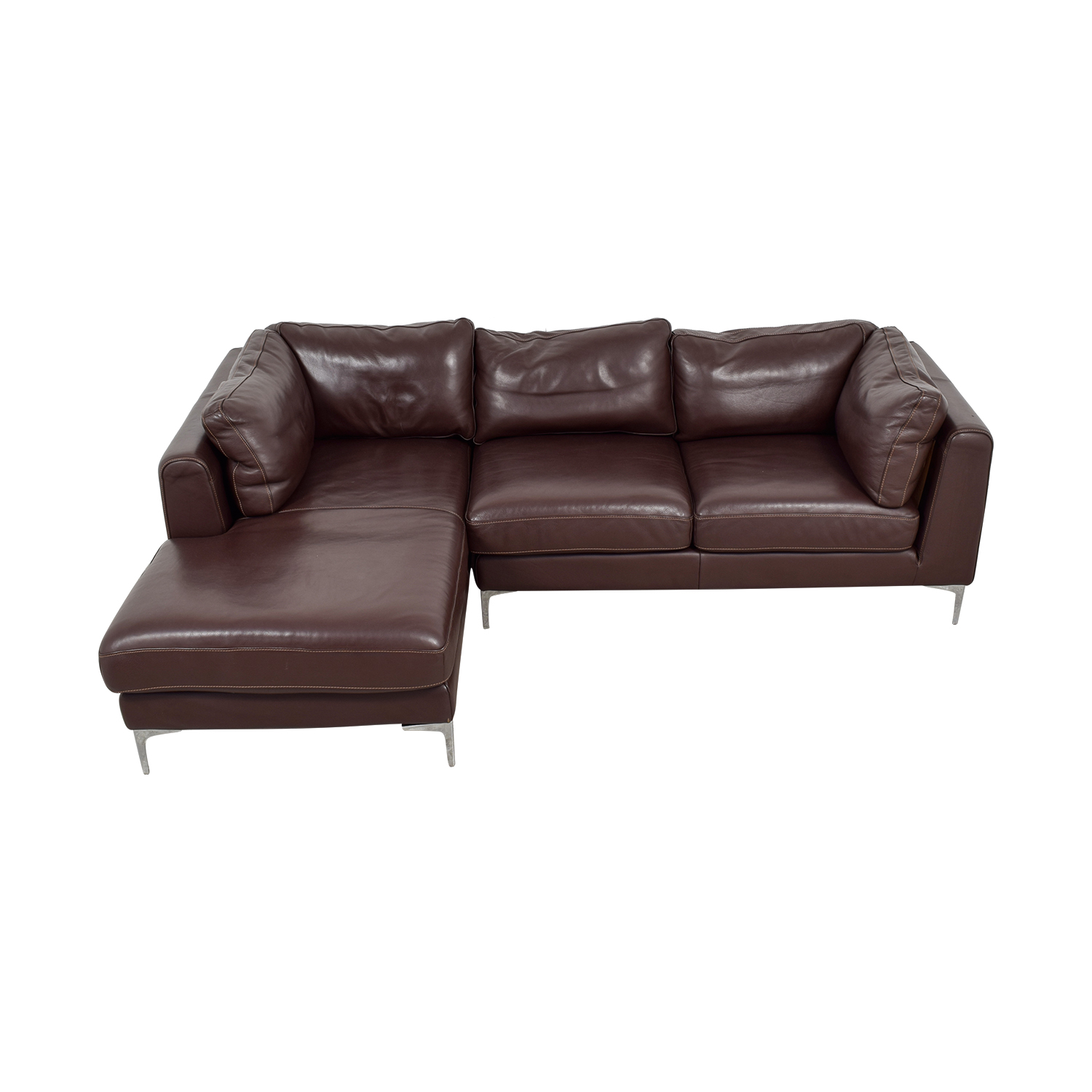 shop Brown Sheep Skin Leather Chaise Sectional  Sofas
