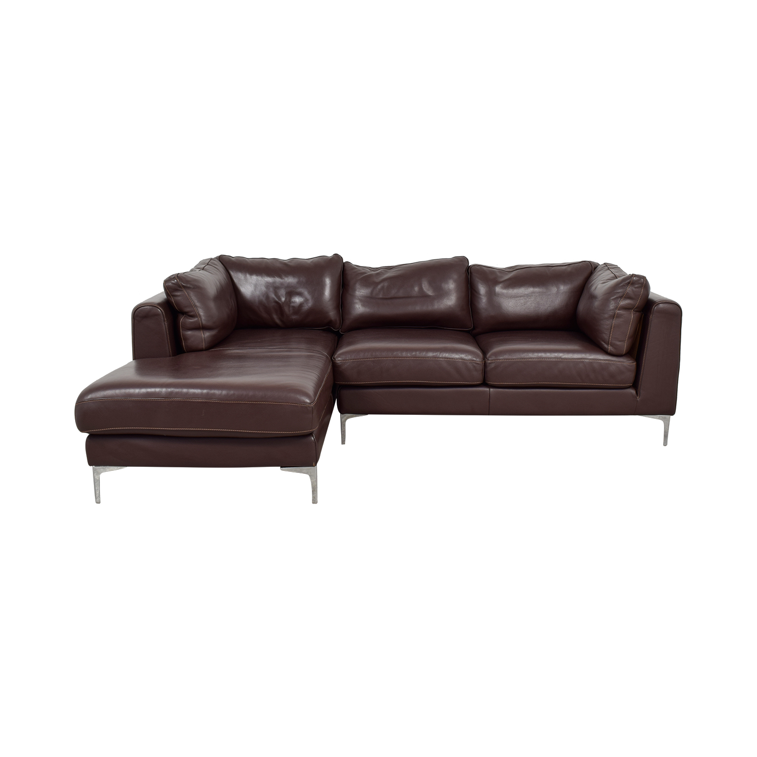 Brown Sheep Skin Leather Chaise Sectional