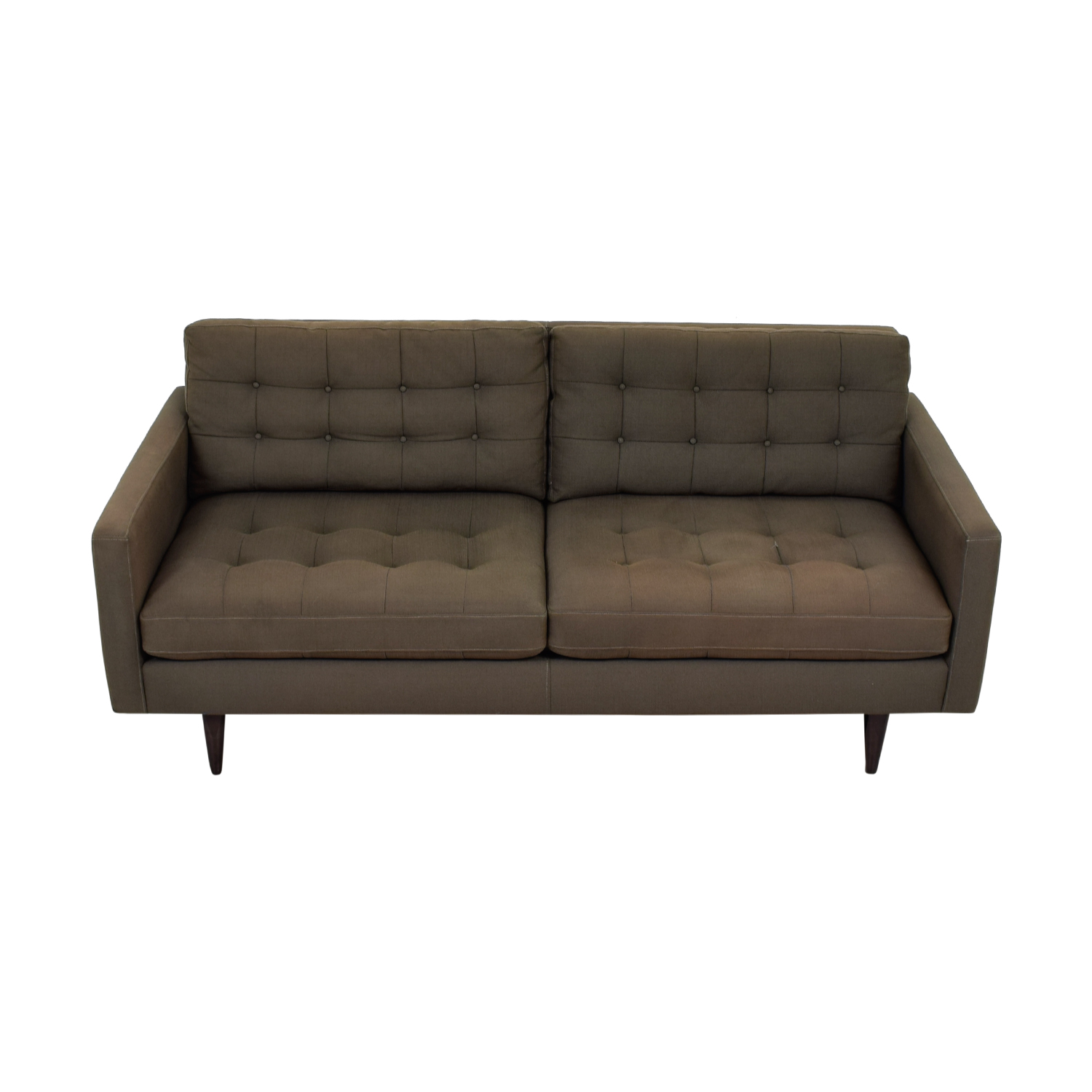 Crate & Barrel Crate & Barrel Petrie Grey Tufted Two-Cushion Sofa second hand