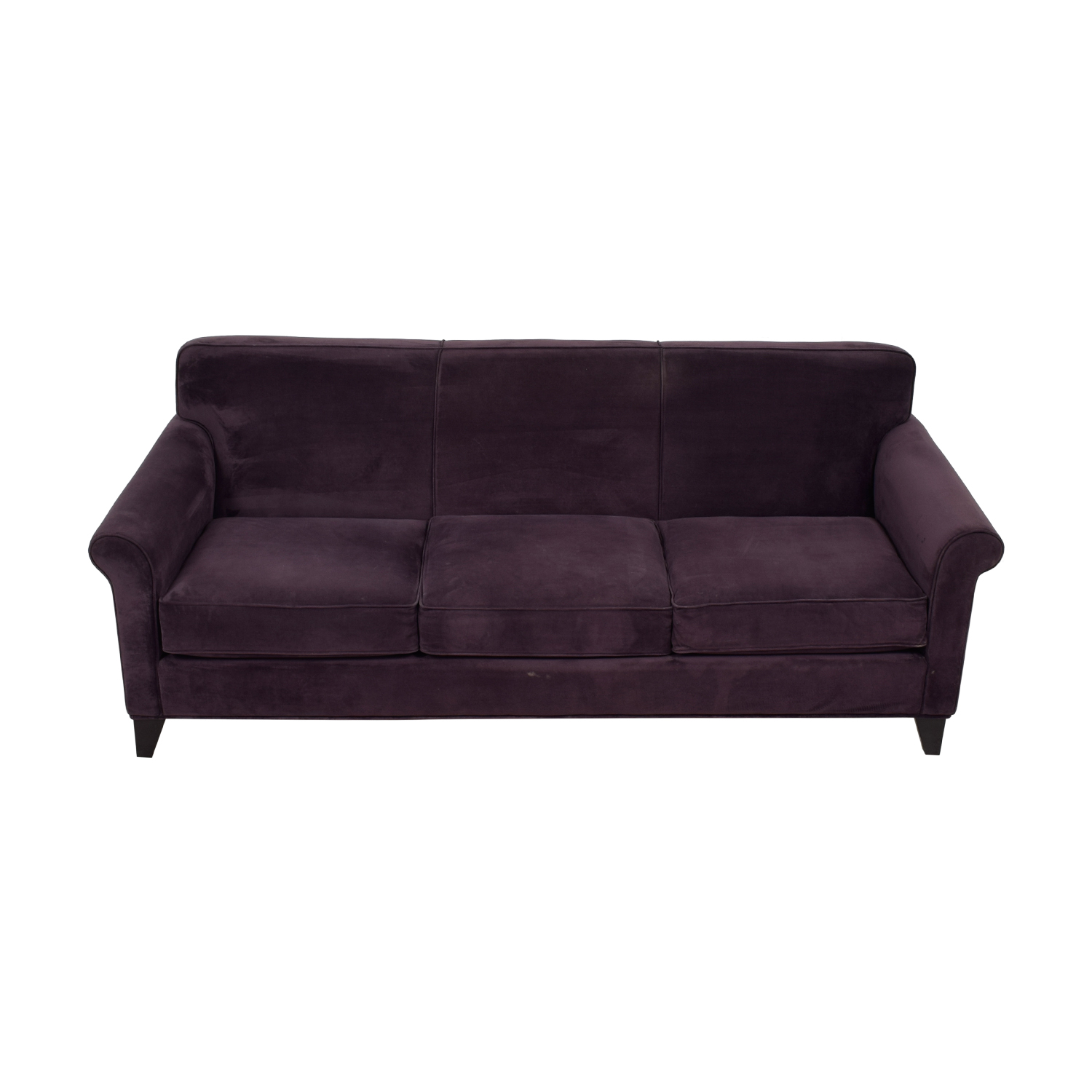 Raymour & Flanigan Raymour & Flanigan Purple Three-Cushion Couch discount