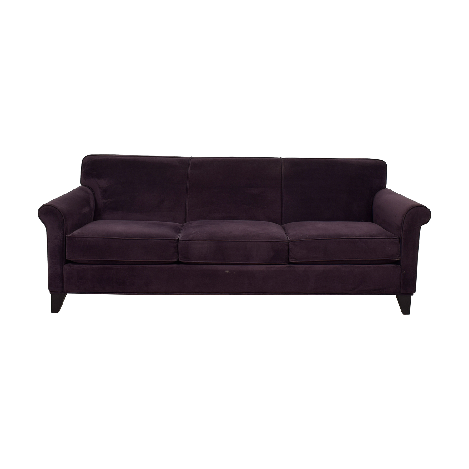 Raymour & Flanigan Purple Three-Cushion Couch sale