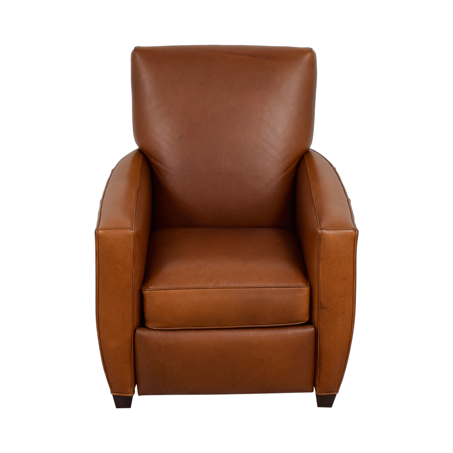 Crate & Barrel Crate & Barrel Streeter Cashew Leather Recliner for sale