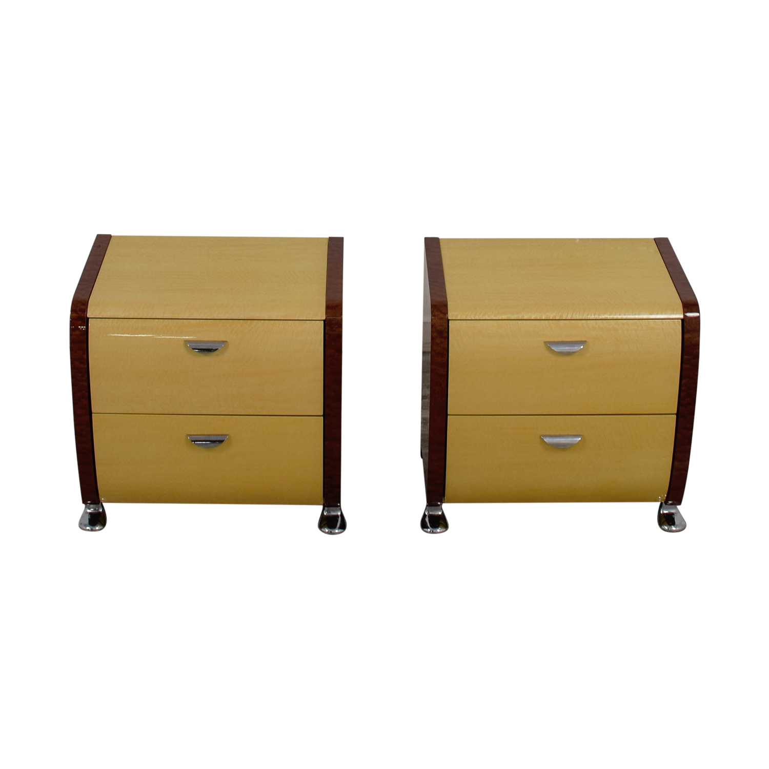 Wood and Beige Two-Drawer End Tables dimensions