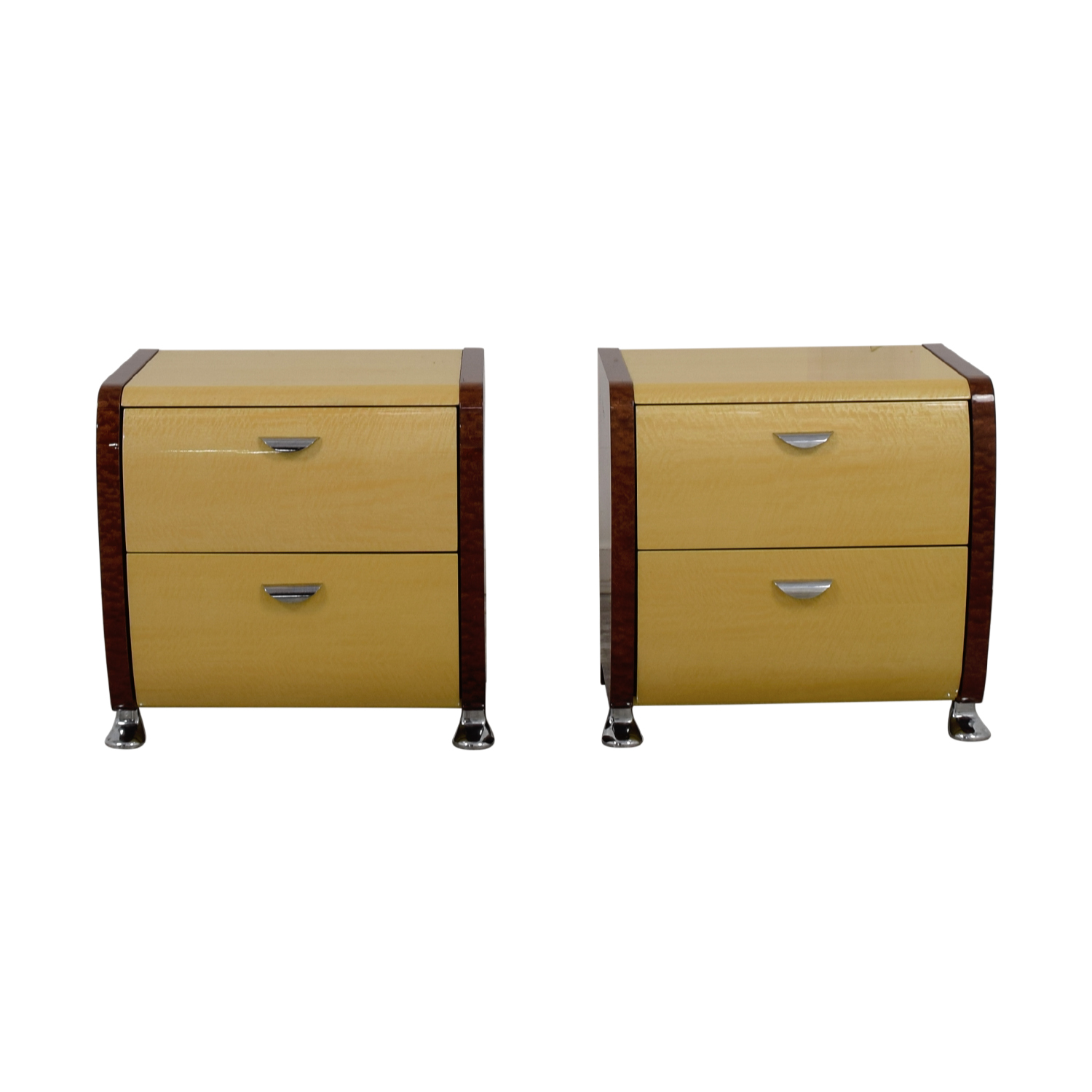 shop Wood and Beige Two-Drawer End Tables  Tables
