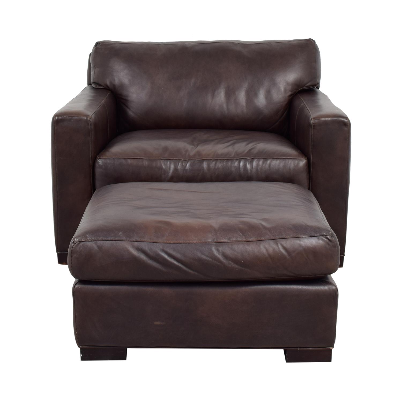 86% OFF   Crate U0026 Barrel Crate U0026 Barrel Axis II Leather Chair U0026 Ottoman /  Chairs