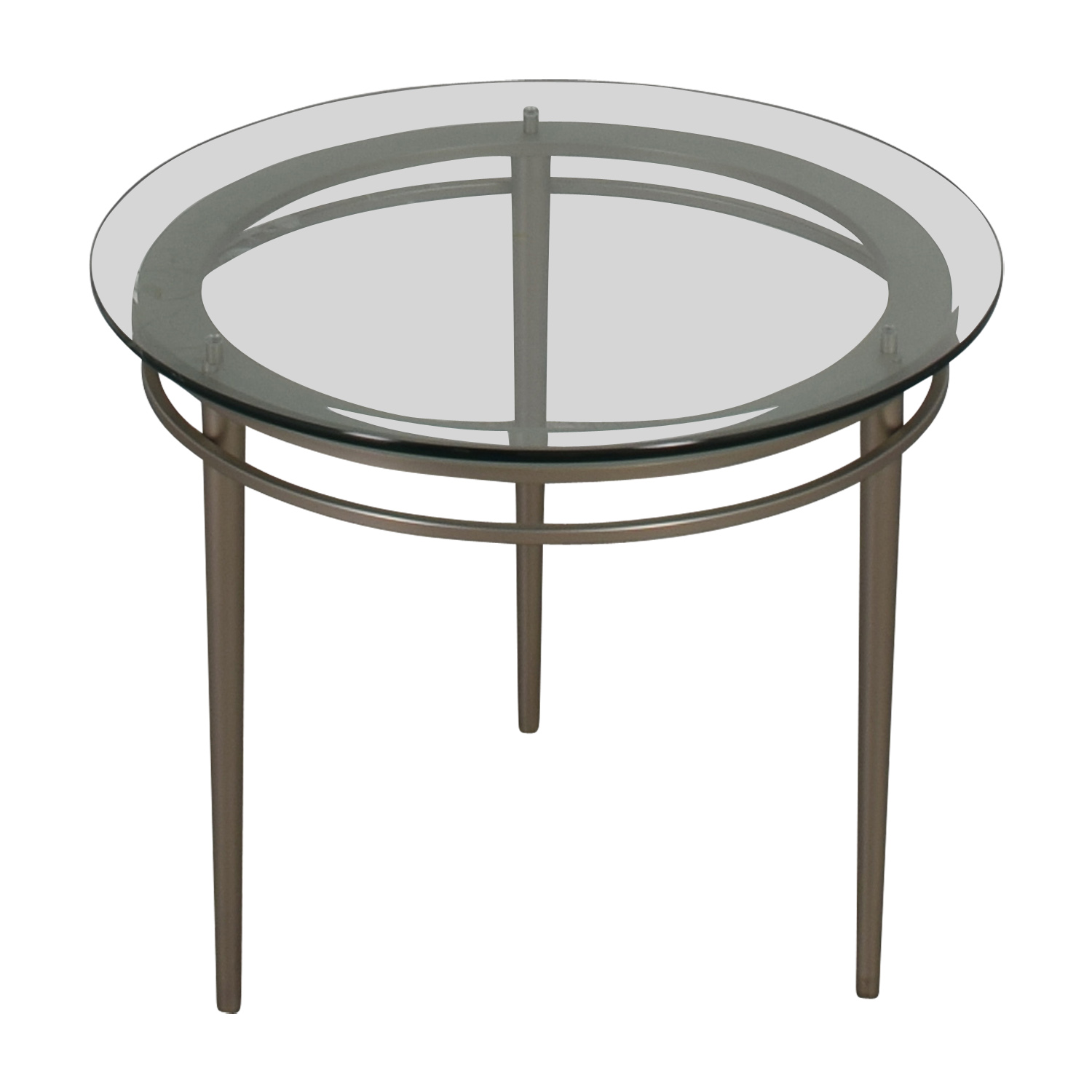 Ethan Allen Ethan Allen Round Glass and Chrome Side Table dimensions