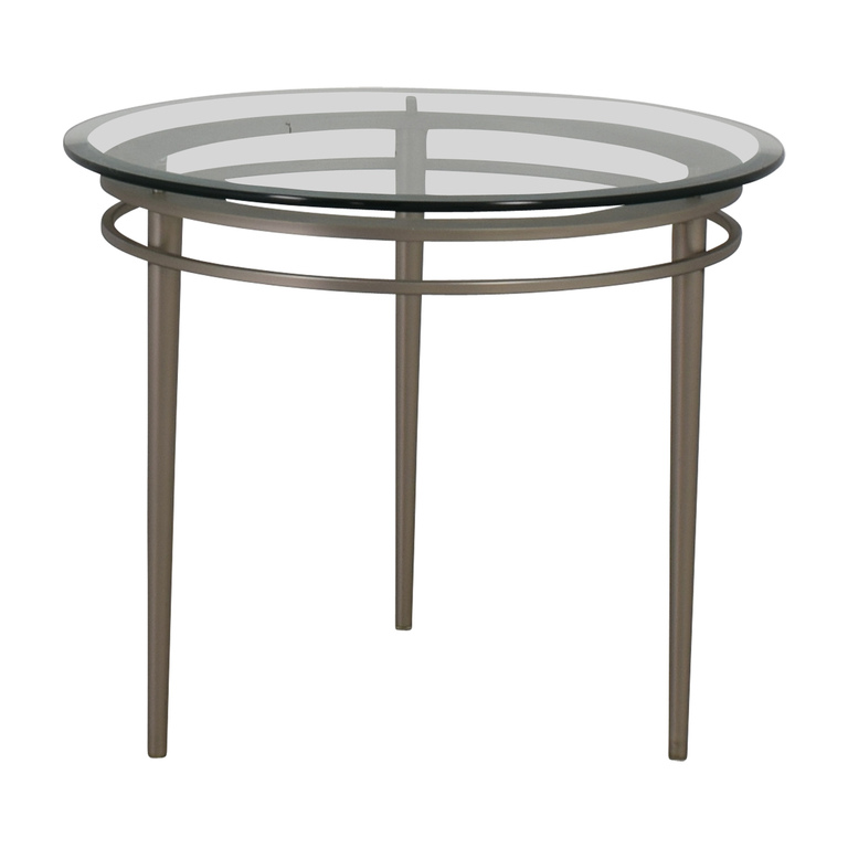 Ethan Allen Ethan Allen Round Glass and Chrome Side Table on sale