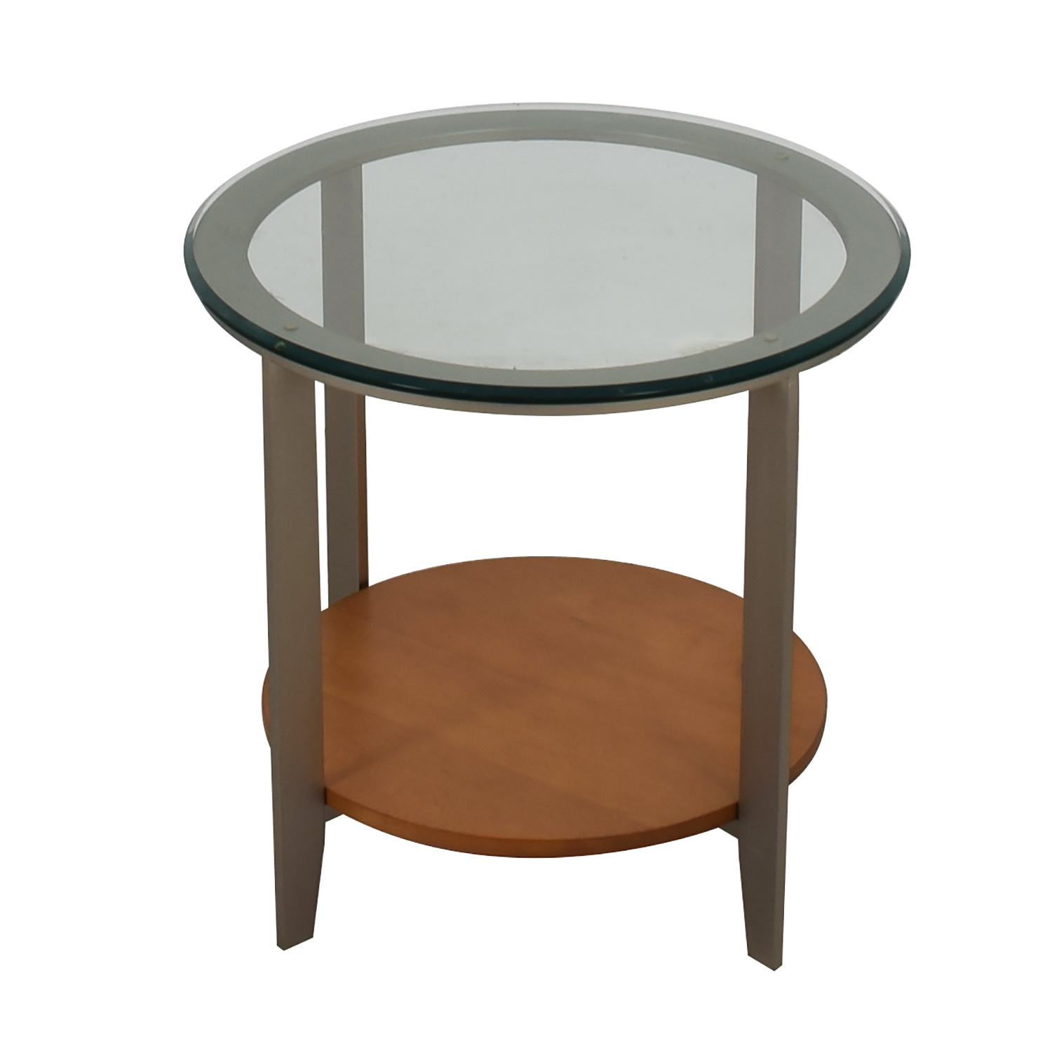 buy Ethan Allen Round Glass and Wood End Table Ethan Allen