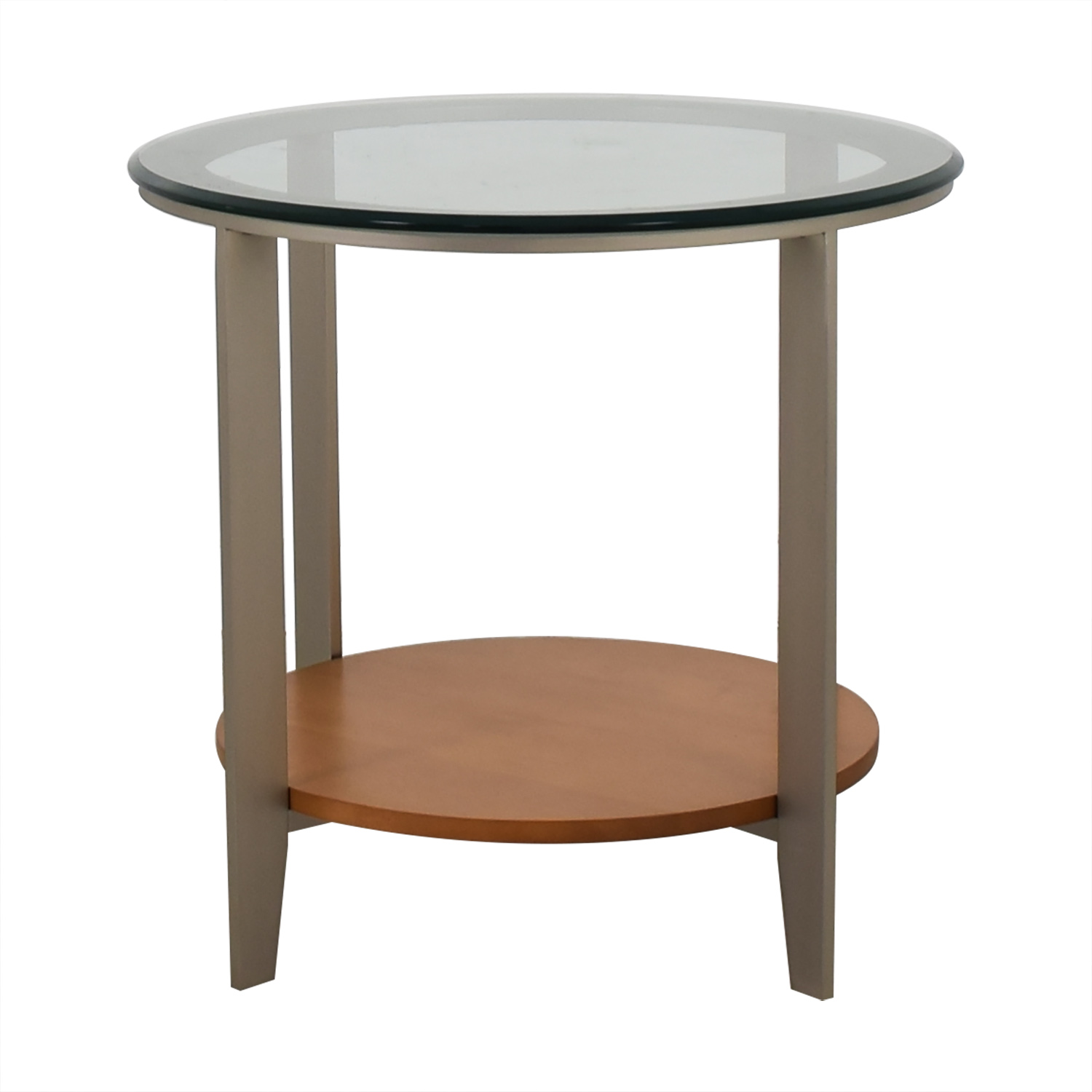 Ethan Allen Ethan Allen Round Glass and Wood End Table used