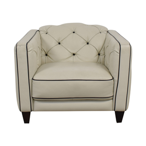 Natuzzi Natuzzi White Leather with Black Piping Tufted Accent Chair coupon