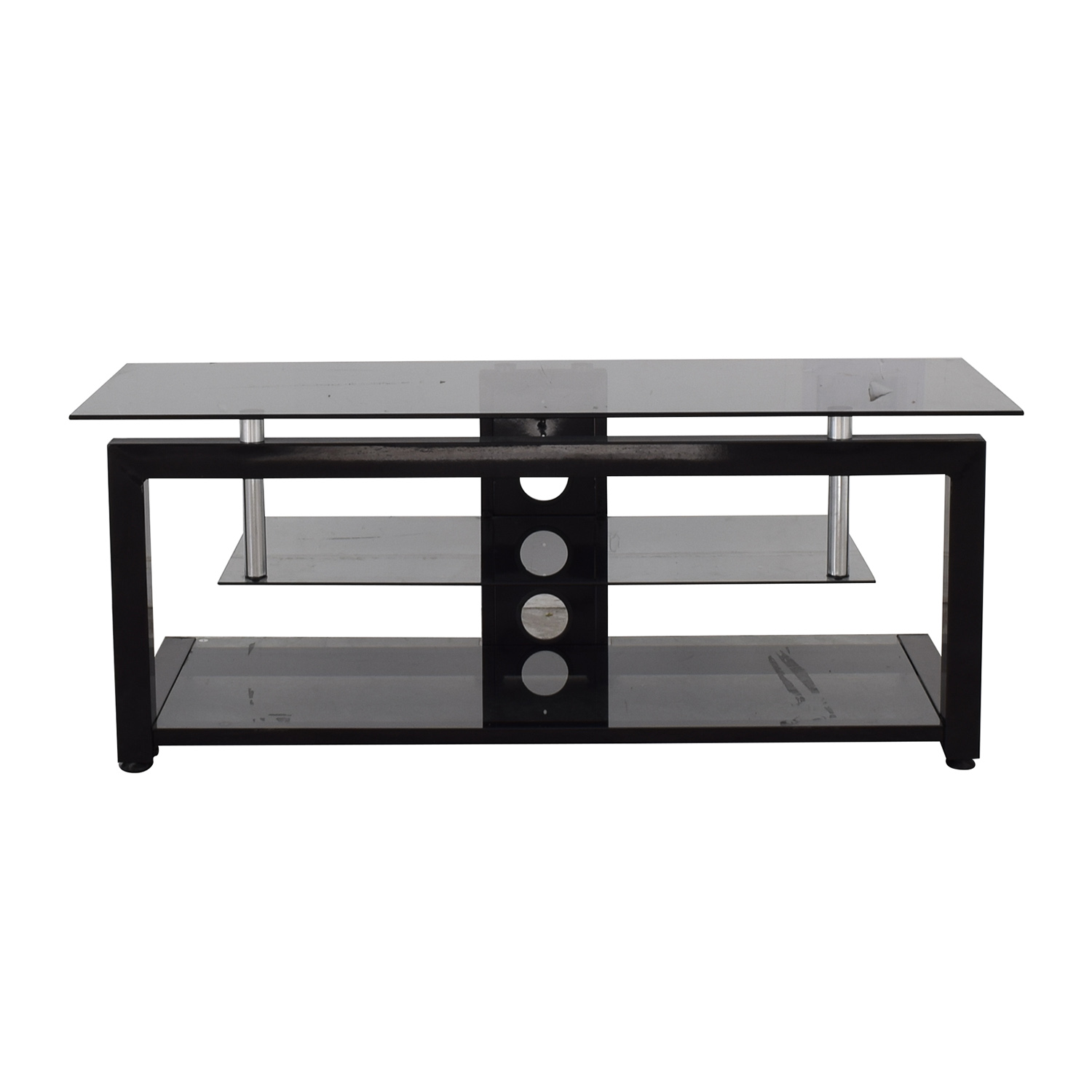 BBY Solutions BBY Solutions Glass and Black TV Stand dimensions