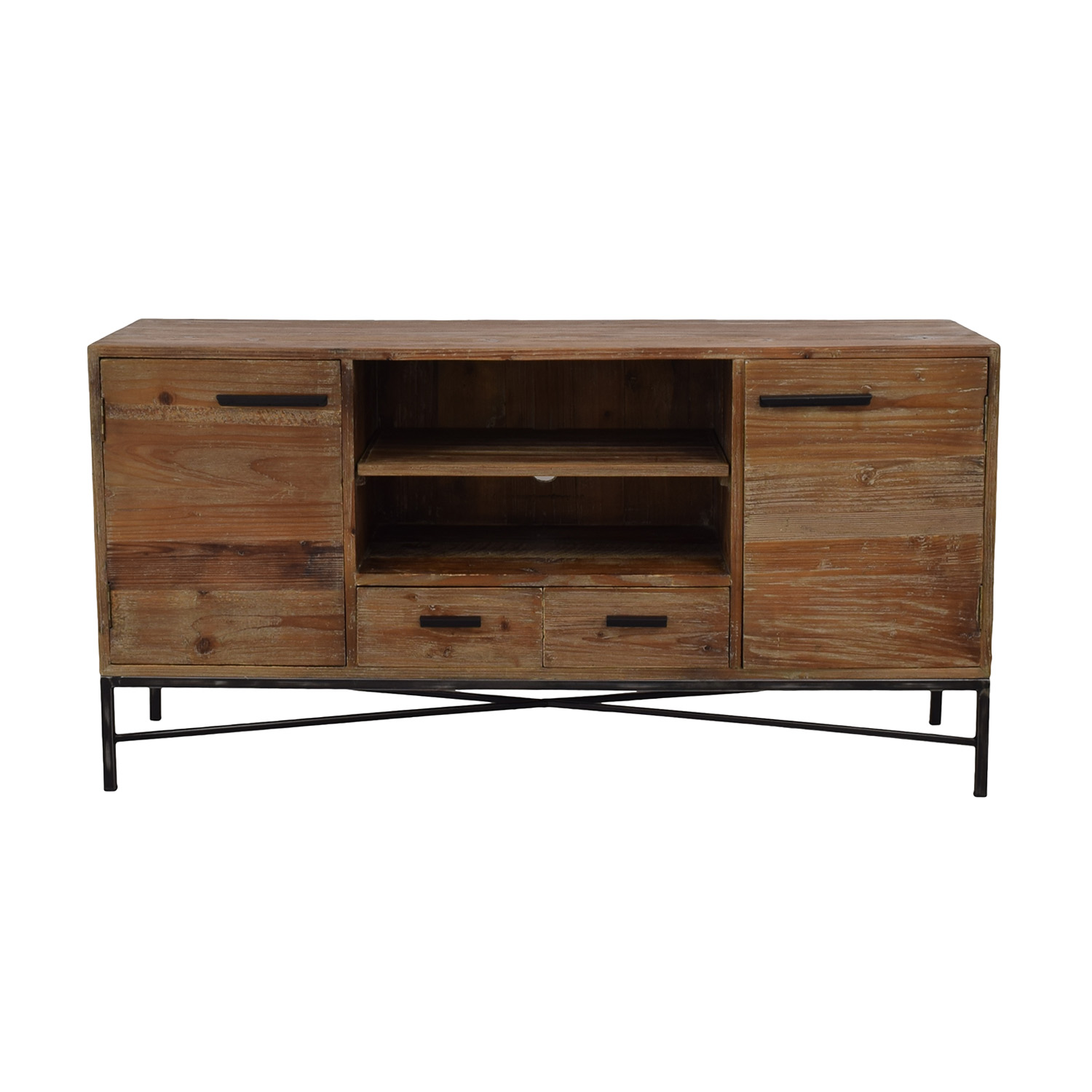 56 Off West Elm West Elm Rustic Wood Tv Stand Storage