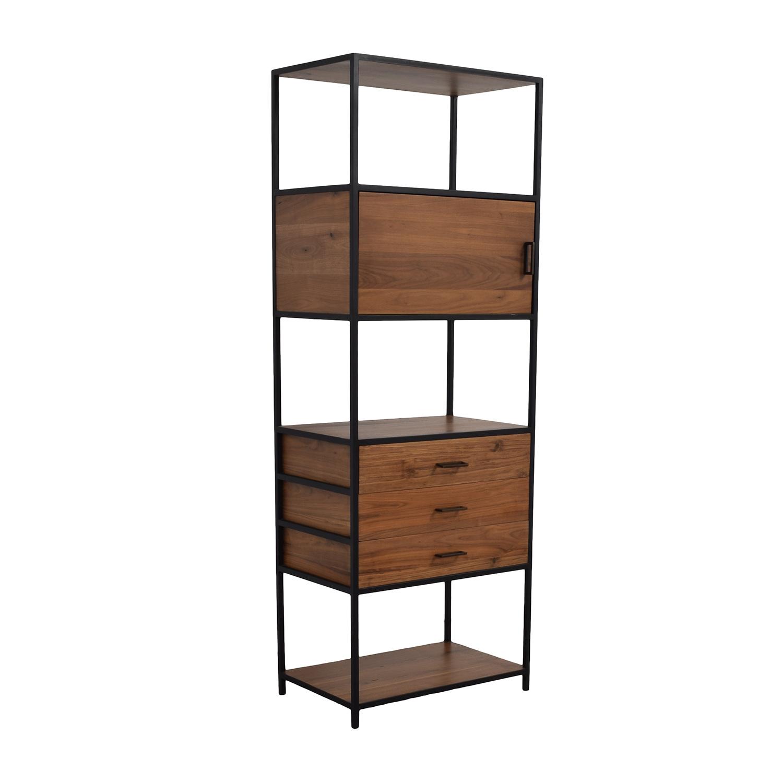52 Off West Elm West Elm Industrial Wood And Black Bookshelf Storage