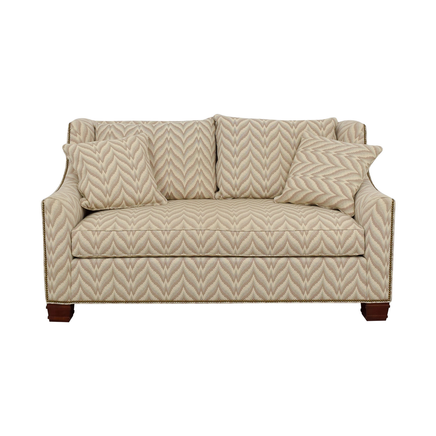The Hickory Chair Furniture Co Chevron Nailhead Loveseat Used