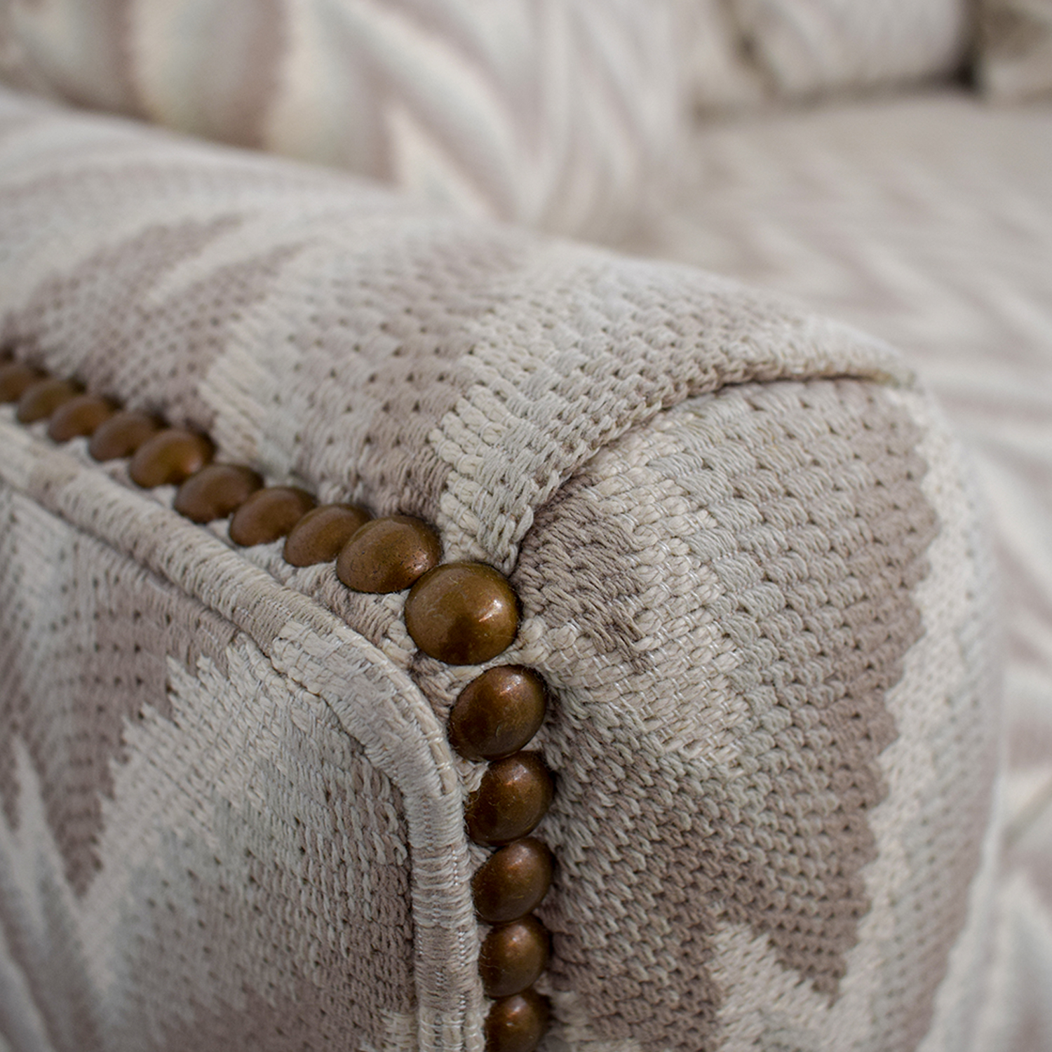 The Hickory Chair Furniture Co. The Hickory Chair Furniture Co. Chevron Nailhead Loveseat second hand